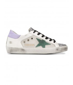 Кеды Golden Goose  'Superstar' canvas leather with glitter